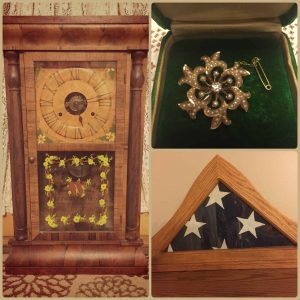 Heirloom items pin, flag, clock tell the story of family objects