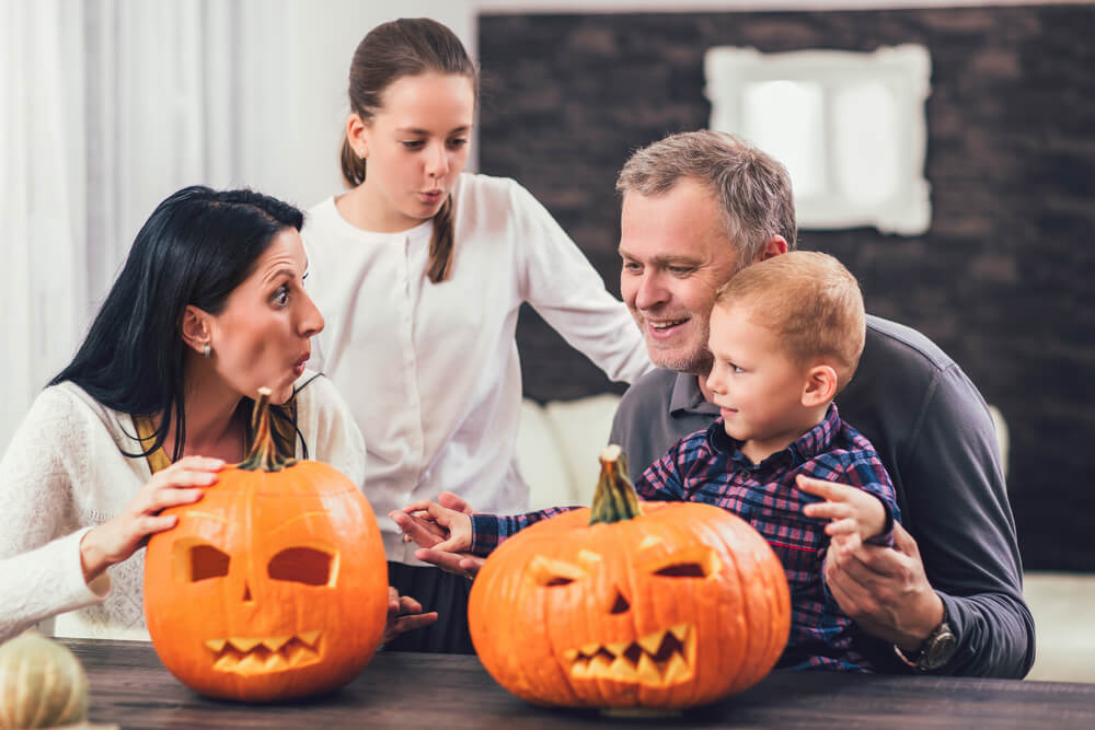 Family at Halloween