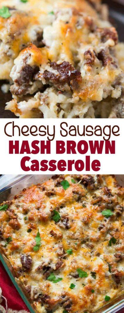 Cheesy Sausage Hash Brown Casserole Breakfast casseroles kids will love