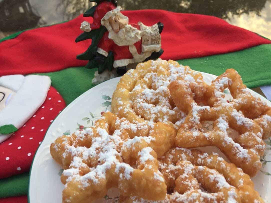 Funnel cake rosettes, a Christmas treat!