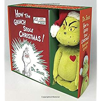 Christmas books for kids - the Grinch who stole Christmas with stuffed grinch doll