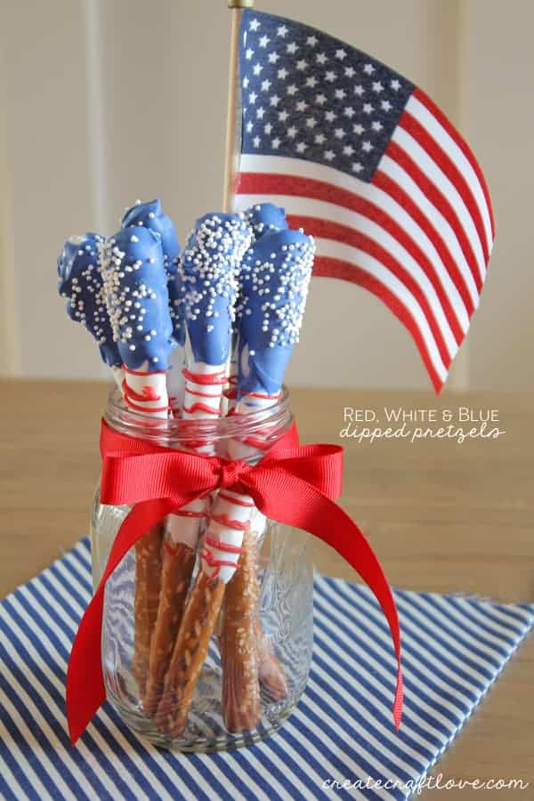 4th of july red white blue pretzels Patriotic dessert