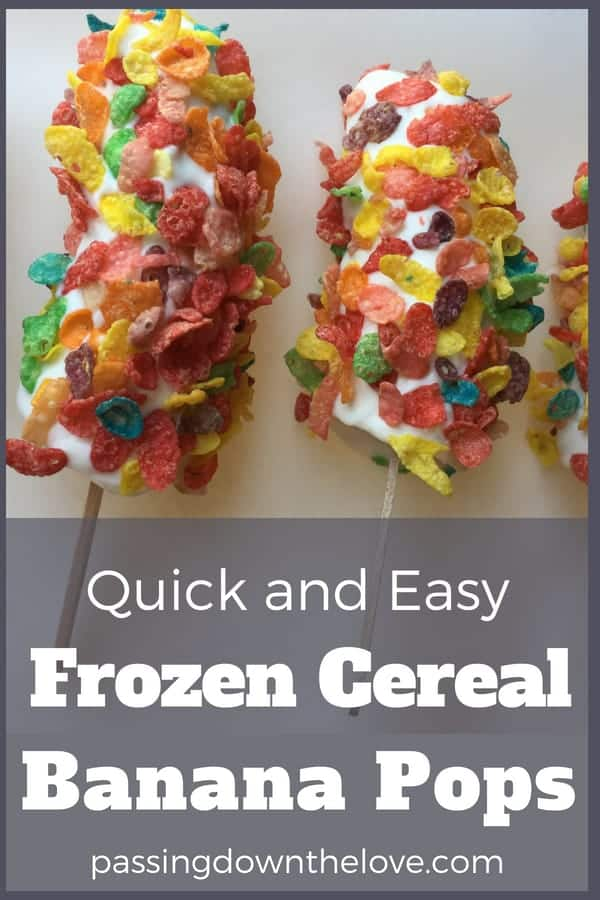 Frozen Banana Pop recipe kids can make themselves.  Quick and easy cereal banana pop recipe to make with kids.