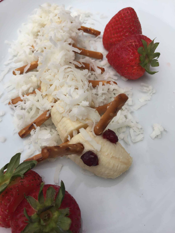 Banana Caterpillars. Easy recipes to make with kids.