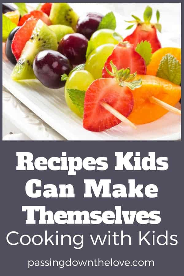 Cooking with kids is great fun for them AND you!  Here are some recipes kids can make themselves.  We had great fun making the banana pops!  Kids love making these easy recipes that are yummy and recipes kids can make alone.  #cookingwithkids #easyrecipes #kidfriendlyrecipe #loveofcooking