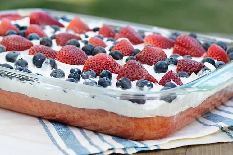 red white and blue poke cake Patriotic dessert