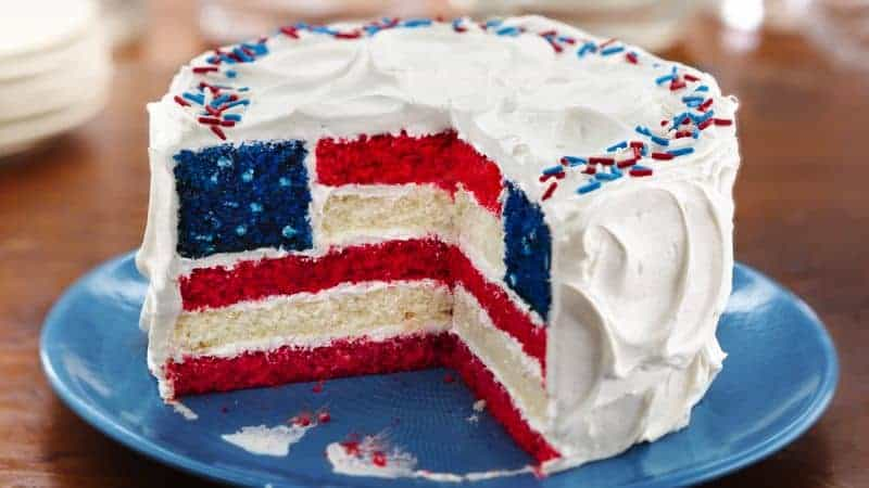 red white blue flag cake Patriotic dessert