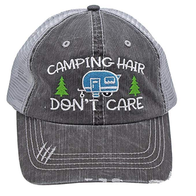 Camping Gifts for Grandmas: Camping hair don't care hat