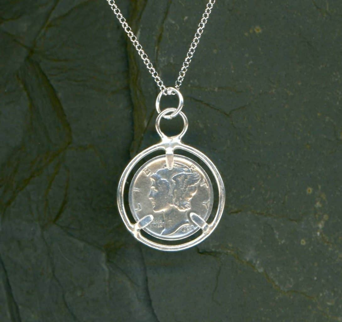 80th birthday silver coin necklace