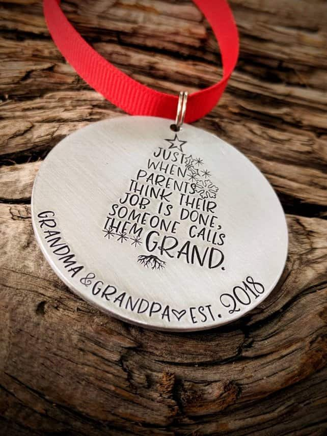 Personalized Grandparent Ornament Gift ideas for new Grandmas
