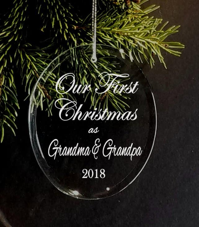 Personalized glass Christmas ornament Gift ideas for new Grandmas