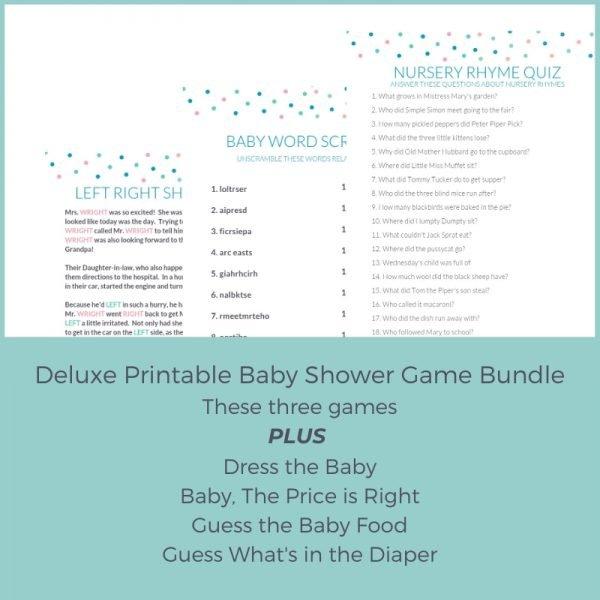 baby shower games bundle