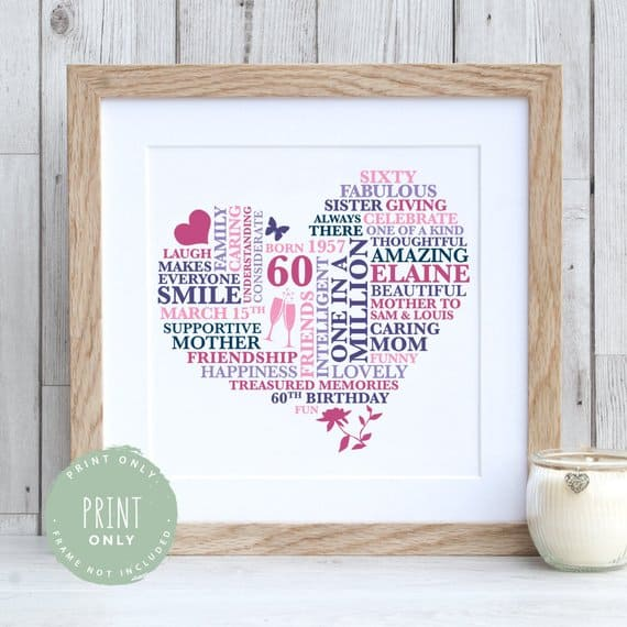 Shell Love This 60 Years Personalized Heart Print For Her 60th Birthday Gift