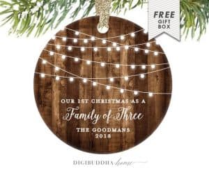 family of three wooden Christmas ornament