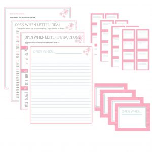 b open when letter printables pink