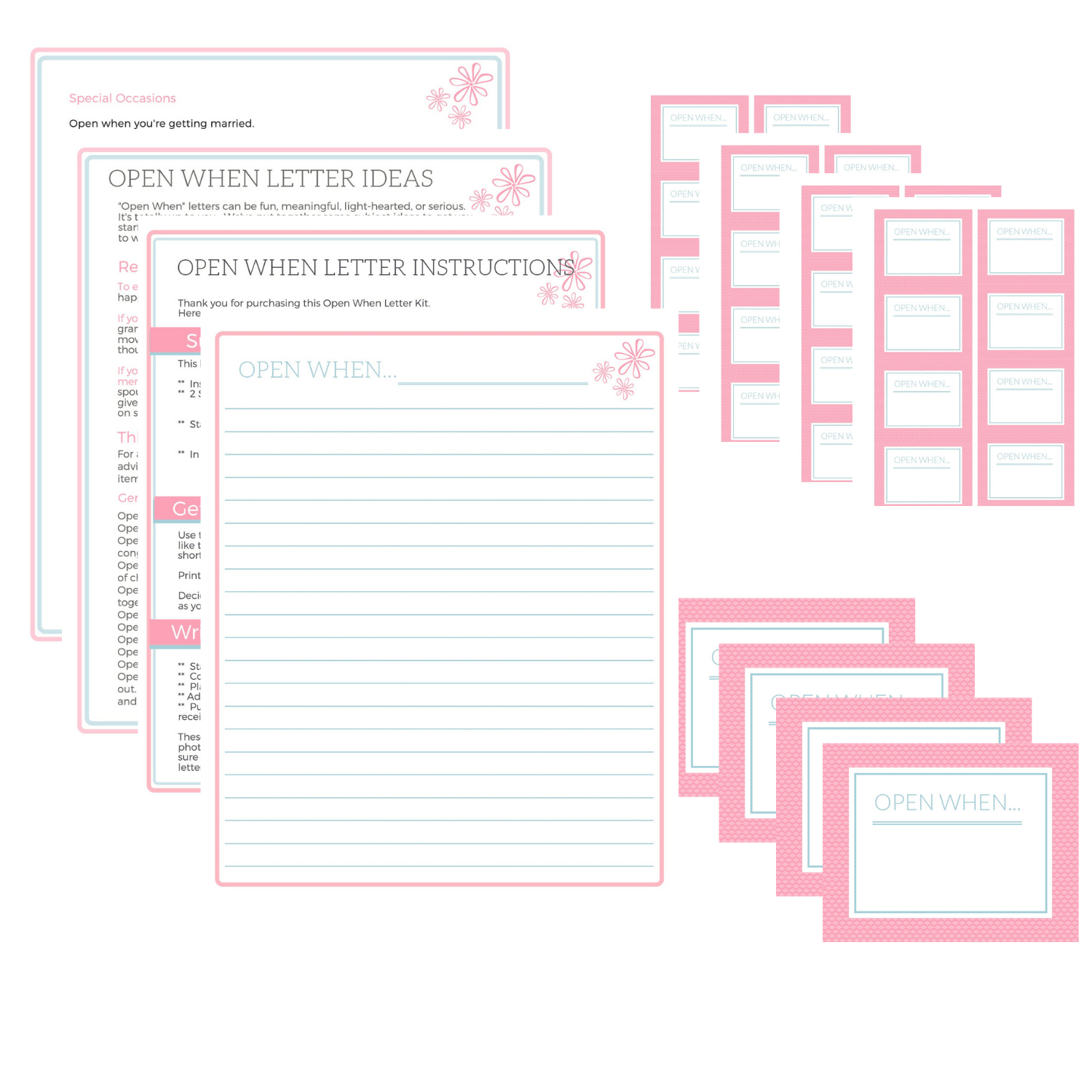 B. Open When Letter Printables: Pink