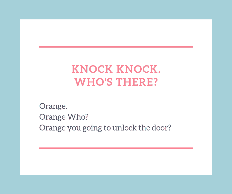 Knock knock jokes for kids orange