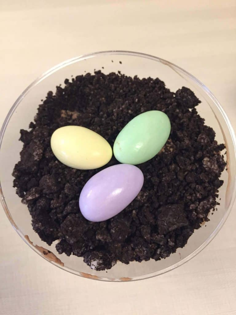 Dirt Cake Cups with Eggs for Easter