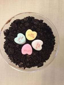Dirt Cake Cups with candy hearts for Valentine's Day