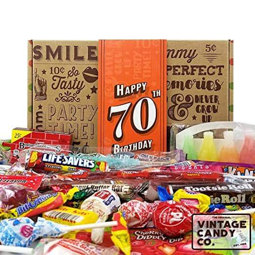vintage candy 70th birthday box