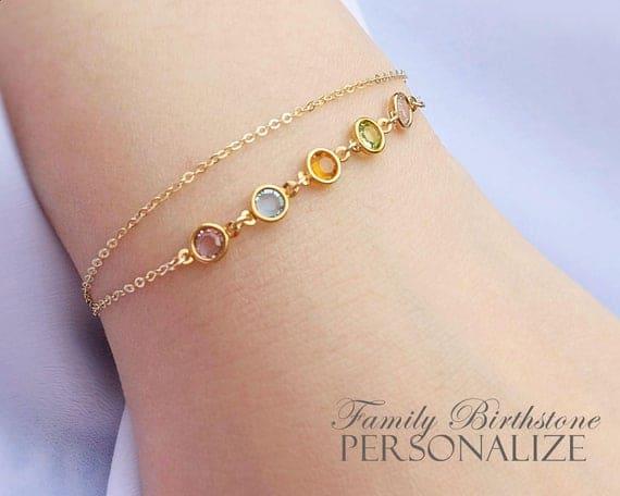 Birthstone Bracelet Gold or Silver
