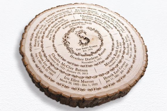 Wooden Slice Family Tree