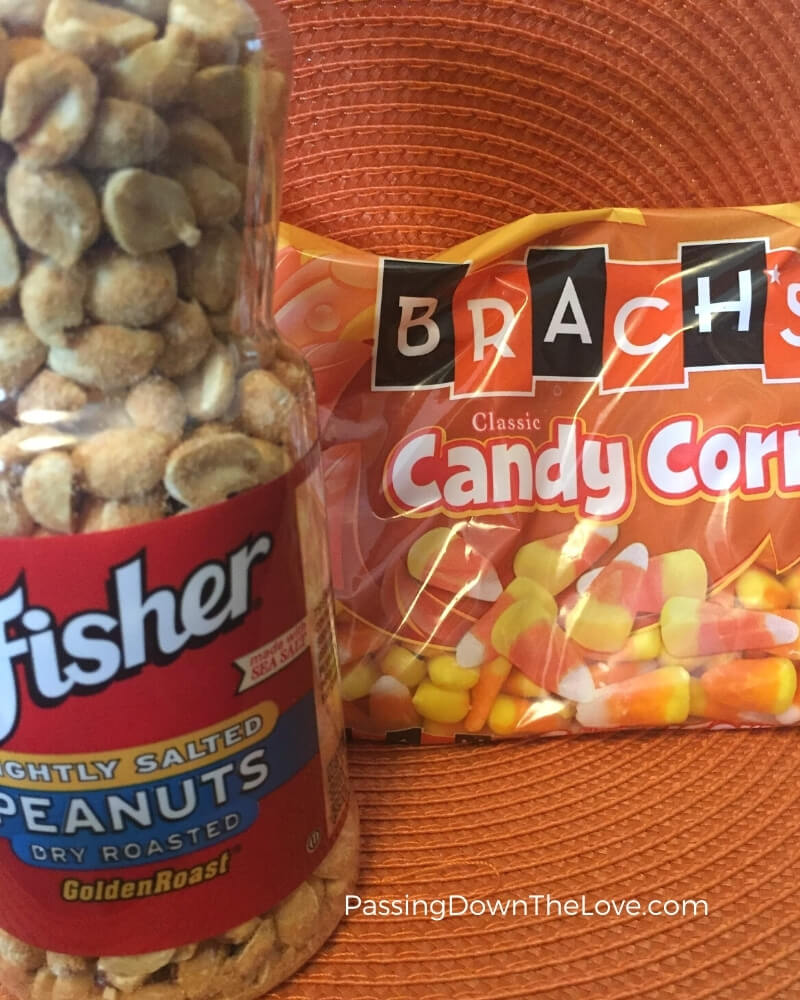 Candy corn and peanuts