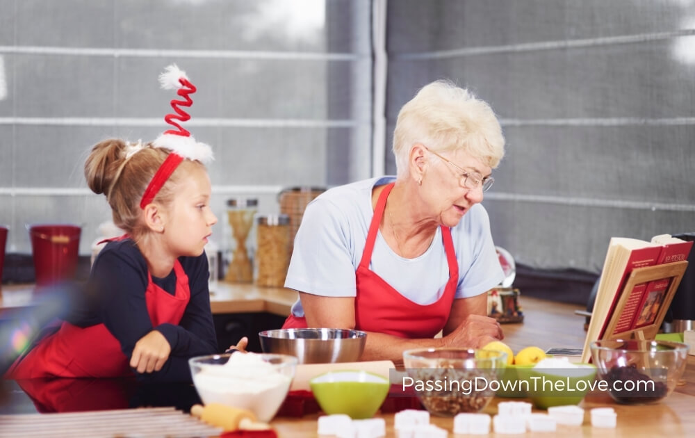 Grandma and granddaughter cooking